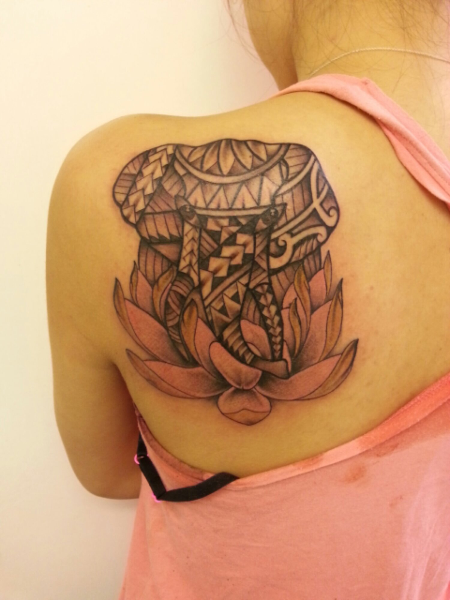 Polynesian Lotus Elephant Tattoos By Turkey